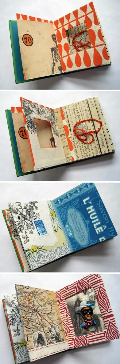 altered book art by designer Trish Leavitt of Silver Lining Design #collage #mixed_media