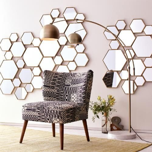 Brass Metal Hexagon Mirror Panel | World Market (living room)