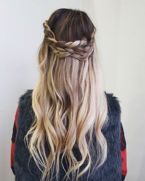 Curled half crown braid by Mackenzie