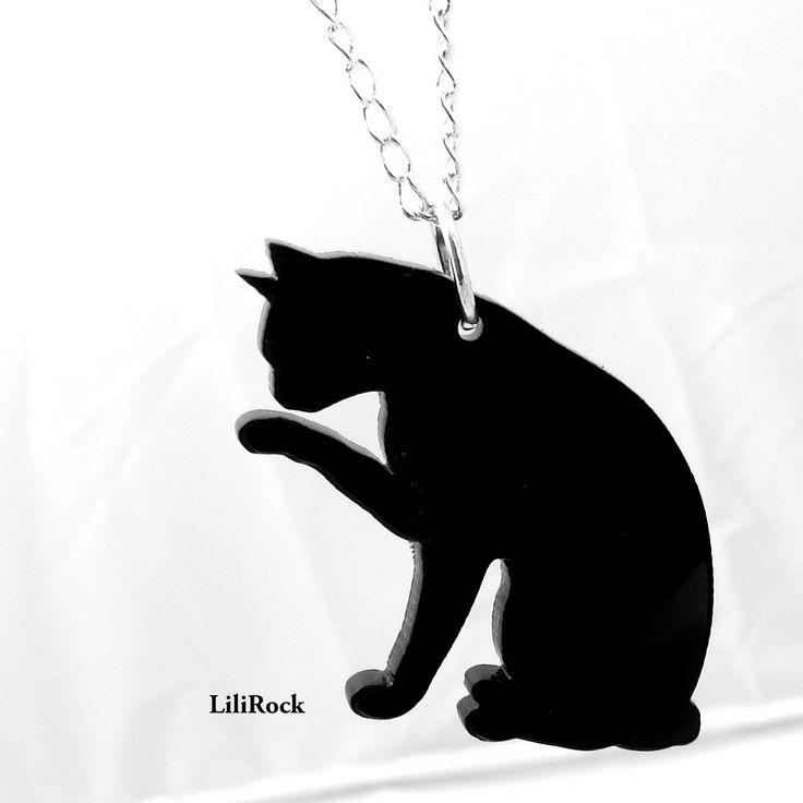 collier chat découpe laser en plexiglass noir *