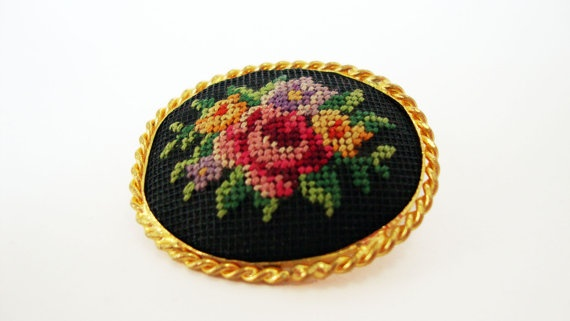 #Vintage Embroidered #Floral #Brooch by Treasures On Broadway, $25.00