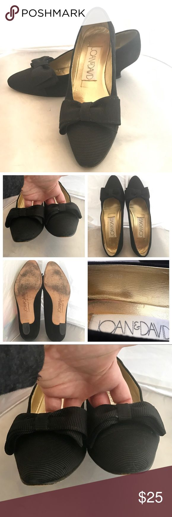 Joan & David Black Silk Bow Shoes Lightly used, in good condition.  Low heel but still good for formal occasions. True to size. Joan & David Shoes Heels