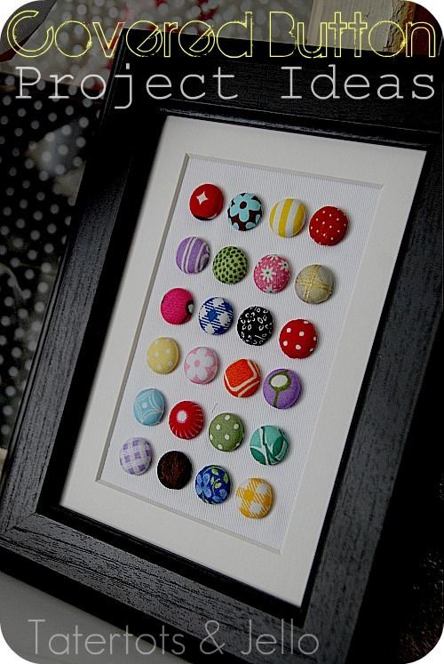 Covered Button awesomeness!  Love this idea for adding some color to a dresser/nightstand.