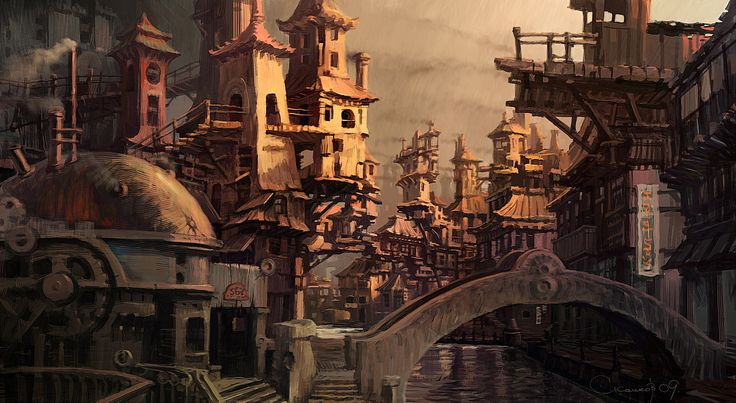 Steampunk Fantasy City | Concept Art by Sergey Skachkov , Russia. Download full size image ...
