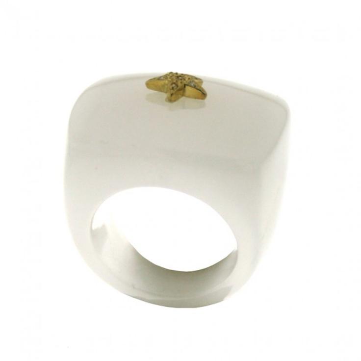 Anello agata bianco quadrato