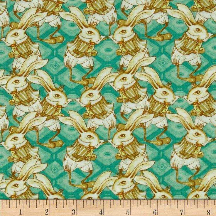 Tina Givens Riddles and Rhymes Bunny Rabbit Teal Fabric
