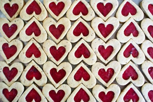 pattern with heart cookies