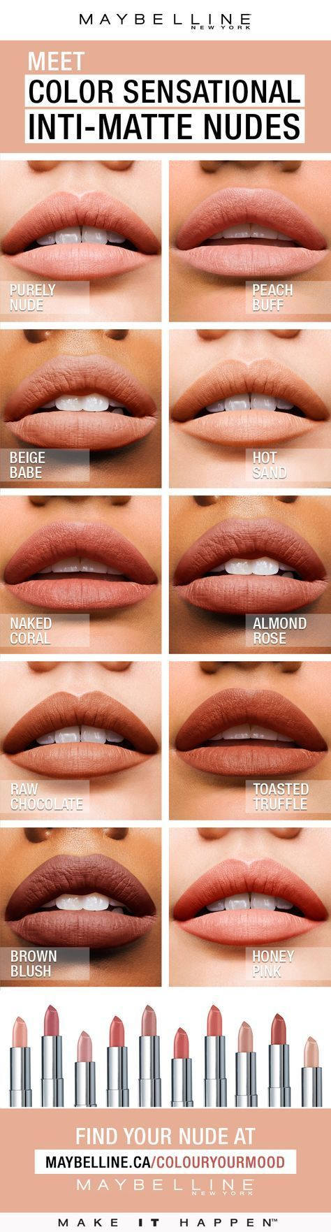 Color Sensational® Inti-Matte Nude lipstick features warm, golden pigments that enrich your natural lip colour. Warmer, more sensational nudes for every skin tone. Pucker up to radiant, confident colour that highlights one's natural beauty. #lipsticklipcolors