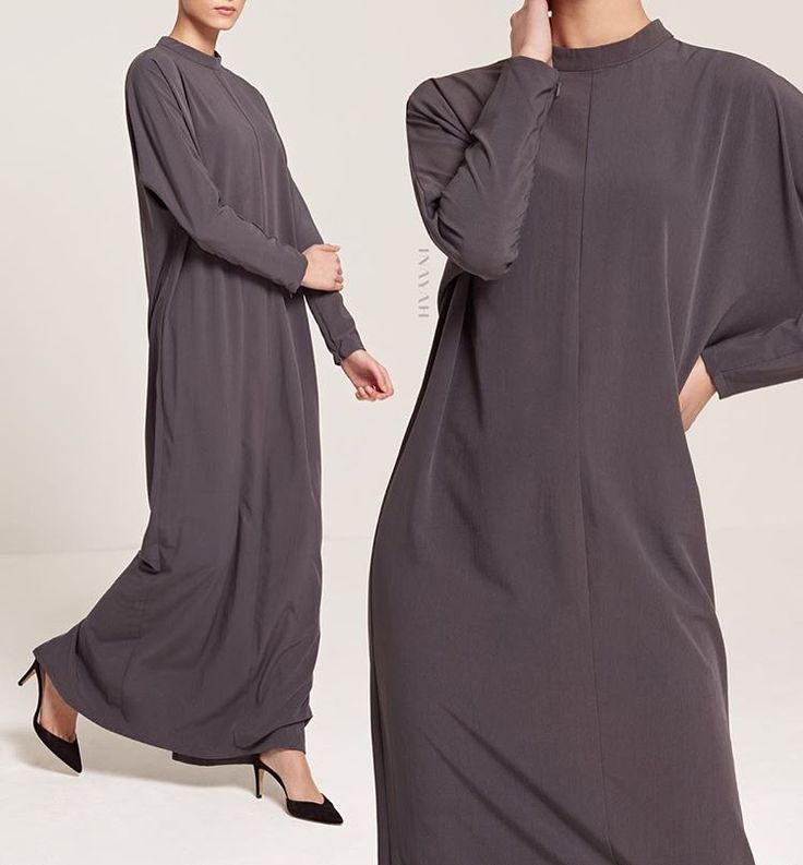 Our Charcoal Batwing Maxi Dress encapsulates effortless sophistication. Pair with a contrasting hijab for a fashionable Spring look. www.inayah.co
