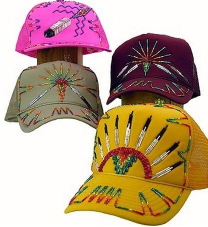 beaded caps, Violet Two Eagle (Sicangu Lakota)