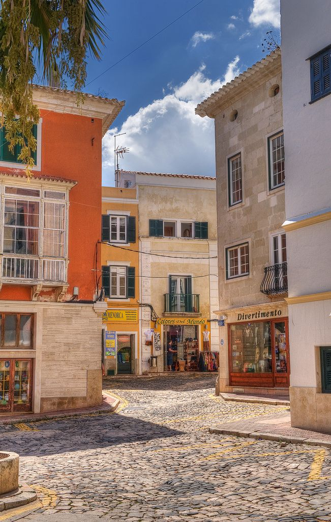 A typical scene in Downtown Mahon, Menorca_ Spain