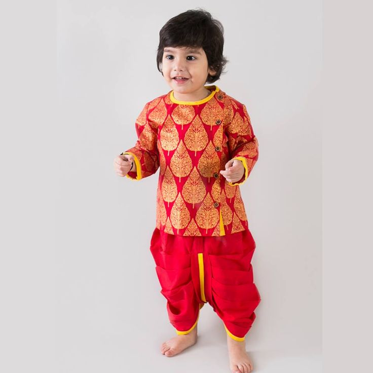 From being the leafy witness to saint enlightenments, to having infinite use in Ayurveda, the peepal tree has long been our nations pride and culture stamp. Make your baby boy feel the Indian culture this festive season in our peepal gold leaf print traditional dhoti kurta set. #information #buy #free #online #shopping #shipping #discount