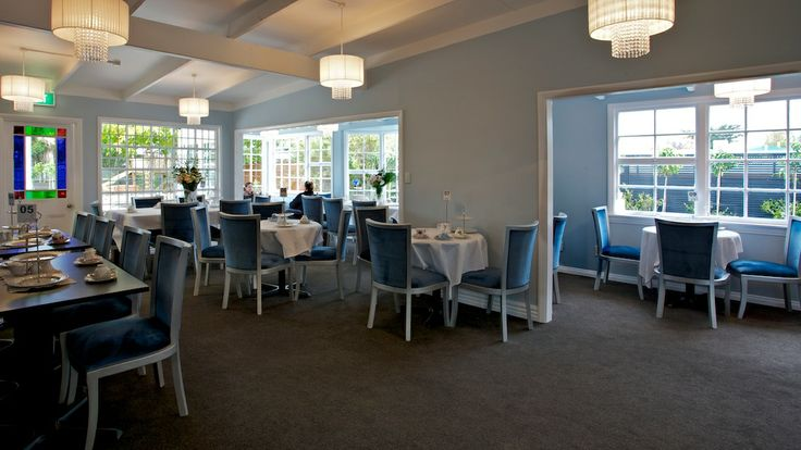 Blue and silver dining room at The Tea House