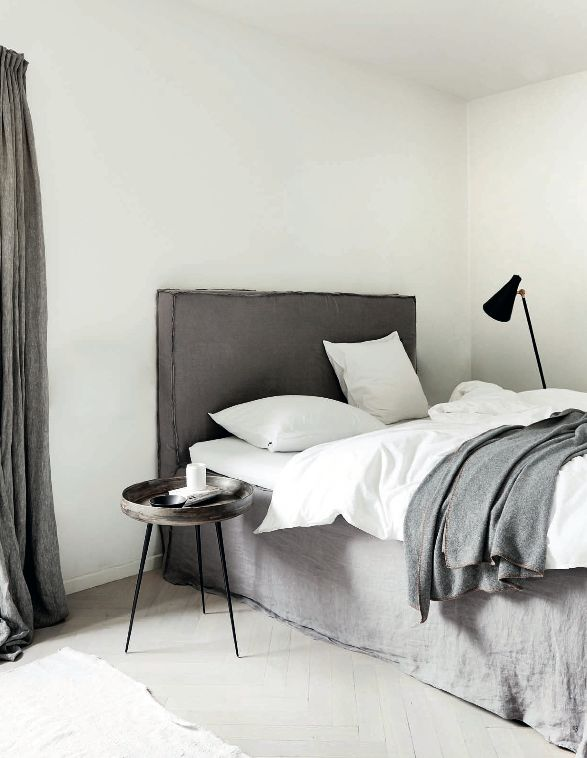 White bedroom, grey accents