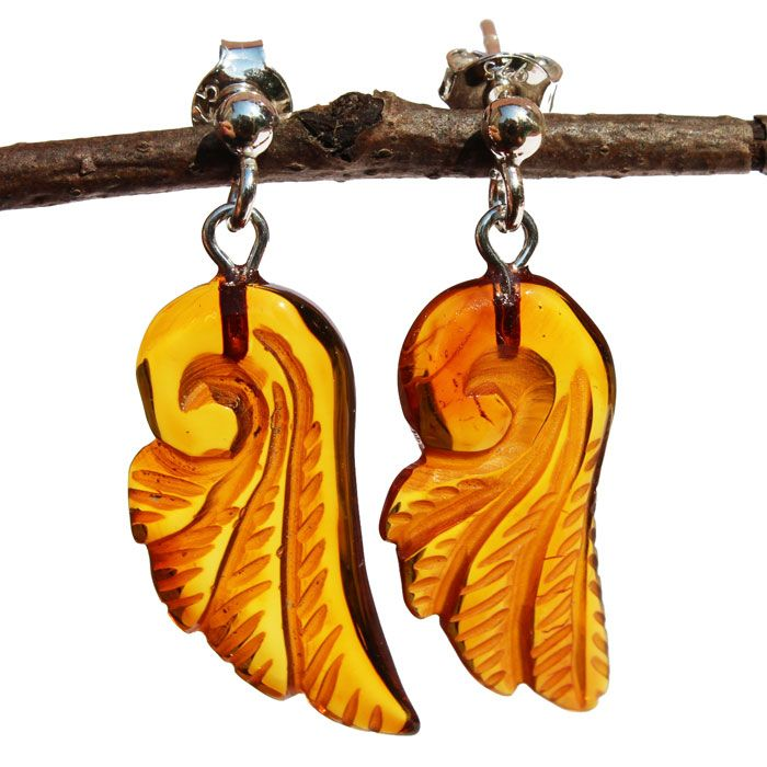 Romantic Baltic Amber Angel Wings Dangle Earrings. Magical gift for your loved one. This angel wings are carved from an authentic honey Baltic amber. Capture the warmth of Amber.