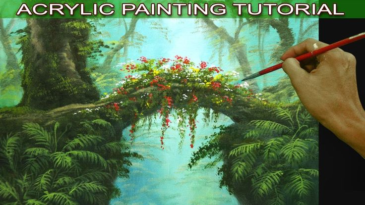 Acrylic Landscape Painting Tutorial Tropical Misty Forest with Hanging P...