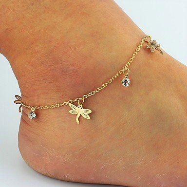 Enkel sieraden, enkel armband slot gouden kleur versierd met libelle