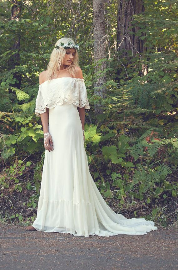 Bohemian Wedding Dress by DaughtersOfSimone... the model is throwing me off, but i still like.