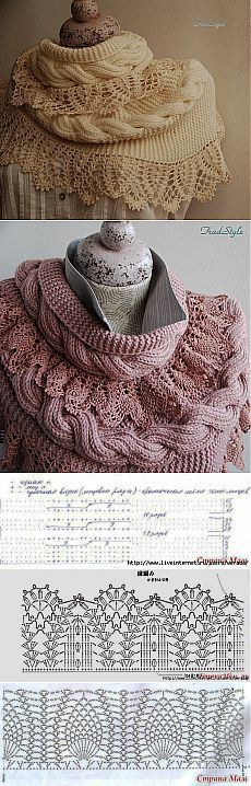Beautiful mixed knit and crochet shawls ~~ >Шарф снуд.