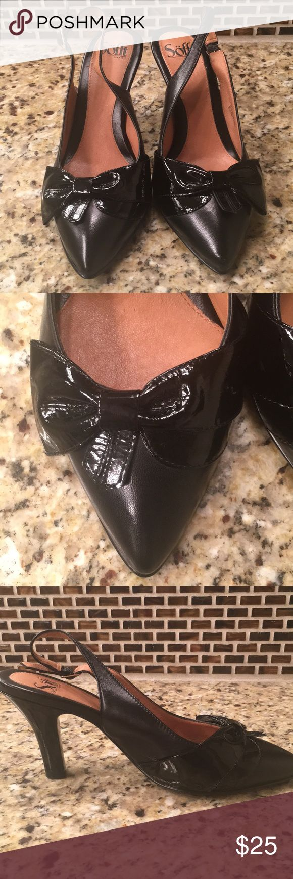 """Sofft Pointy Toe Sling Back Pumps Super cute sling back pumps. Leather with patent leather bow detail. Worn only a few times. 3"""" heels. Smoke free home. Sofft Shoes Heels"""