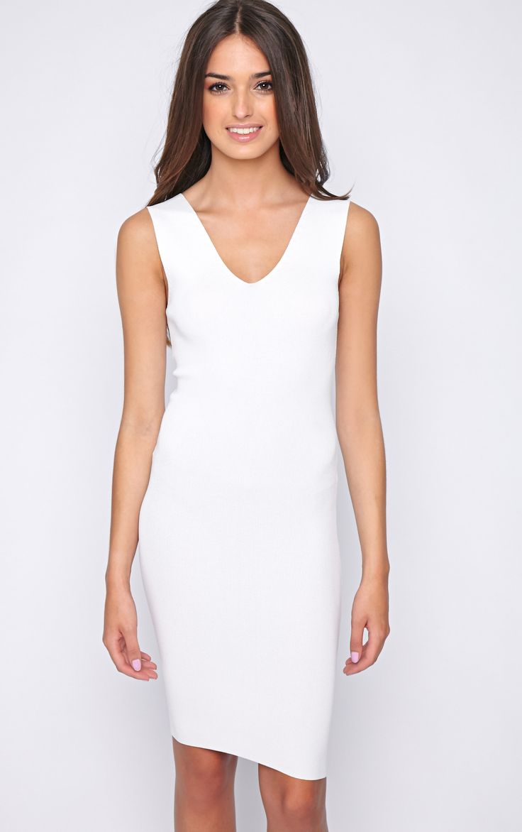 White Bodycon Stretch Dress    Dress up this season in this flattering style, work with b...