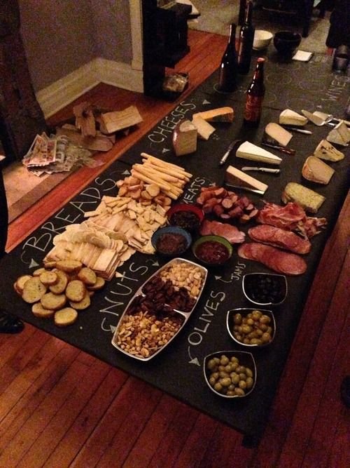 Wine and Cheese Party - cover table in butcher paper and write on