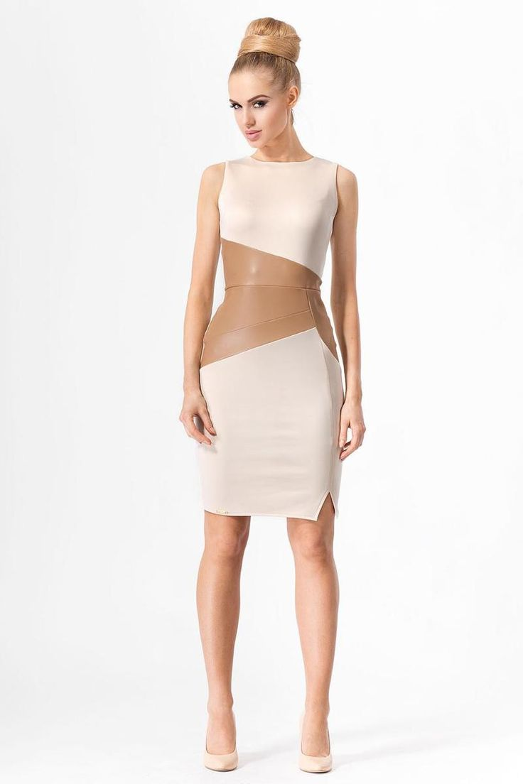 Beige Bodycon Dress With Leather