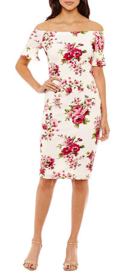 Bisou Bisou Off the Shoulder Floral Sheath Dress, #cutedress #adorable #fashion #ad