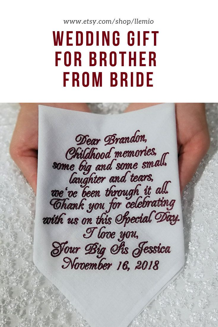 Brother Of The Bride Gift From Sister Personalized Embroidered Custom Handkerchief White C Brother Wedding Gifts Custom Handkerchief Personalized Wedding Gifts