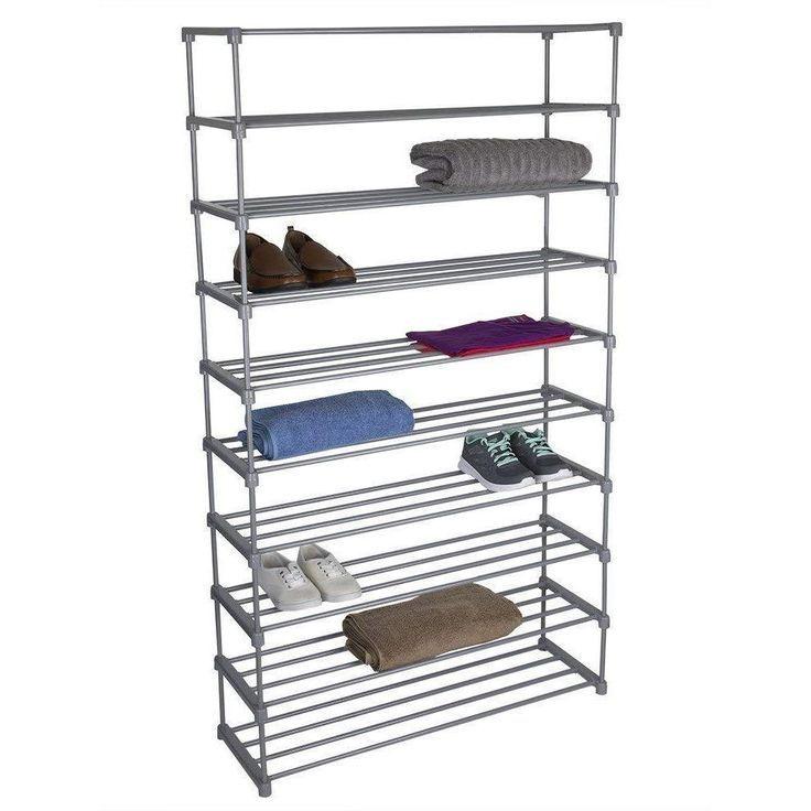 10 Tier Multi Purpose Plastic And Metal 50 Pair Shoe Rack Grey