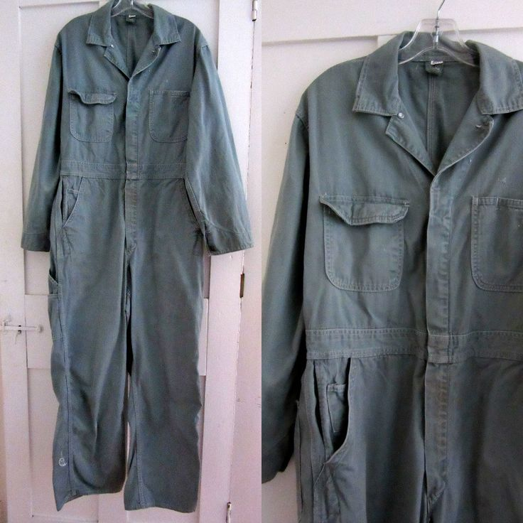 60s Mechanic Coveralls - Green Gray - Overalls - Mens - Work Clothes - Costume by stateandmainvintage on Etsy
