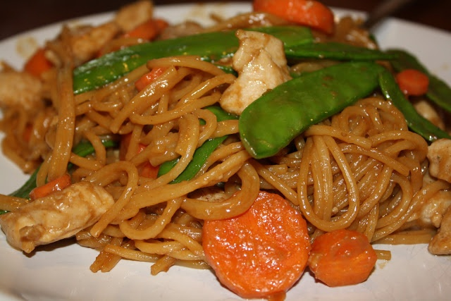 ... thai style peanut butter noodles with chicken, snow peas, and carrots