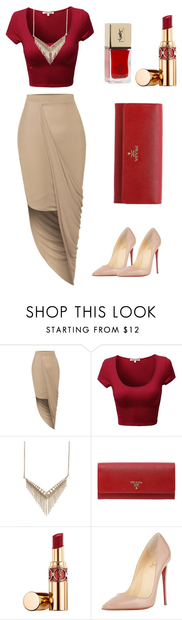 """""""Untitled #5"""" by sylver-fang on Polyvore featuring LE3NO, Melinda Maria, Prada, Yves Saint Laurent, Christian Louboutin, Lord & Taylor, women's clothing, women, female and woman"""