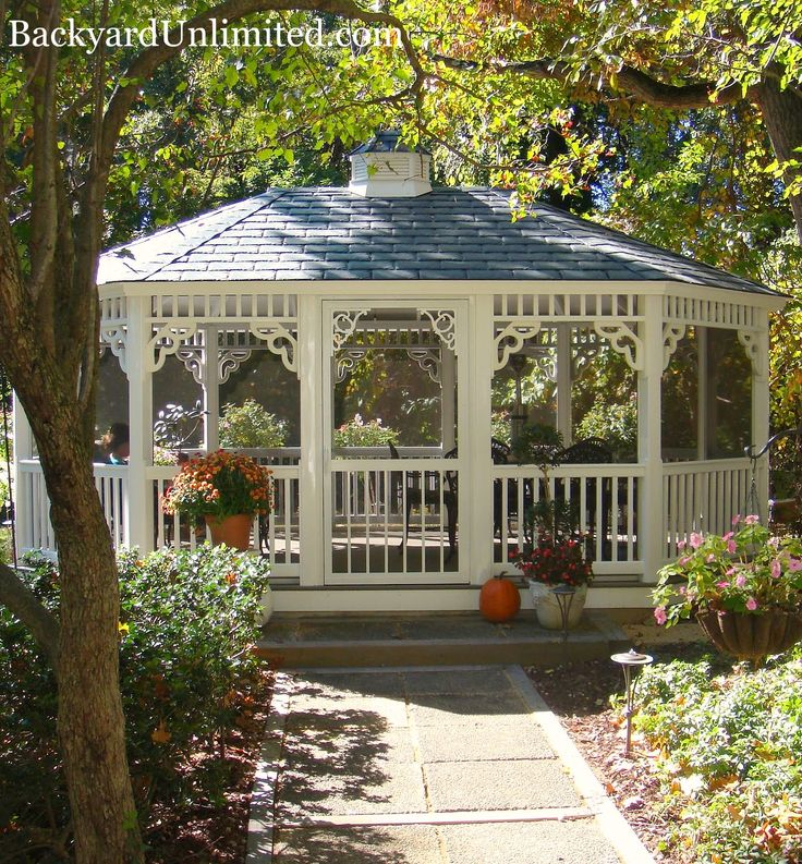 Photo: 14'x20' Oval Vinyl Country Style Gazebo with Victorian Braces, Rubber Slate Roof, Cupola, and Screen Package