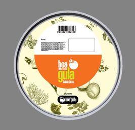 Vista superior de design gráfico para adesivos de potes plásticos para alimentos congelados.