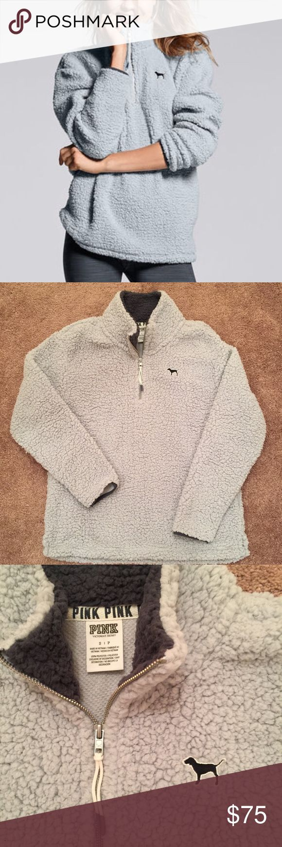 VS Pink Sherpa Boyfriend Half-zip Pullover Sold out online! 100% polyester, SUPER soft! Has pockets and half zip up. Brand new without tags, NEVER BEEN WORN, smoke and pet free home. Color is a very pale grey blue with smoky grey blue accents. NO TRADES PINK Victoria's Secret Tops Sweatshirts & Hoodies