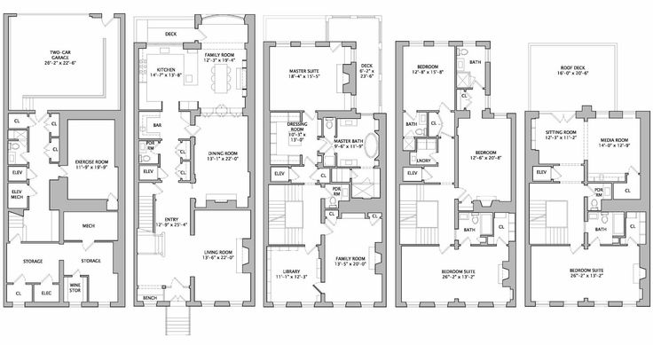 Philadelphia townhouse floor plan house plans for Luxury townhome plans