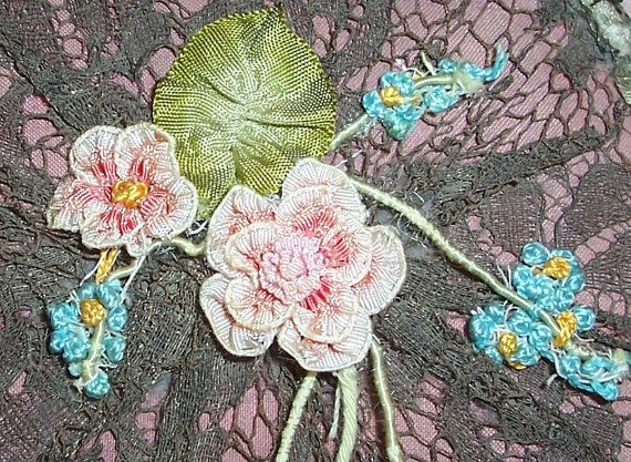 Caja de polvos textiles antiguos francés...Cojo por VintageFlowers
