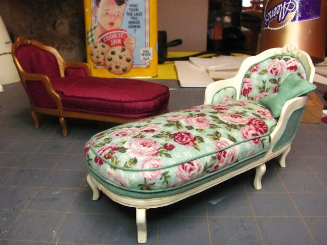 Miniature: How to make a miniature chaise longue from layered paper and fabric.  Lots and lots of tutorials and they have step-by-step instructions and pictures.  jls