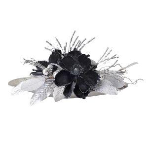 Centre de table de Noël, noir et argent 22 x 11 x 13''