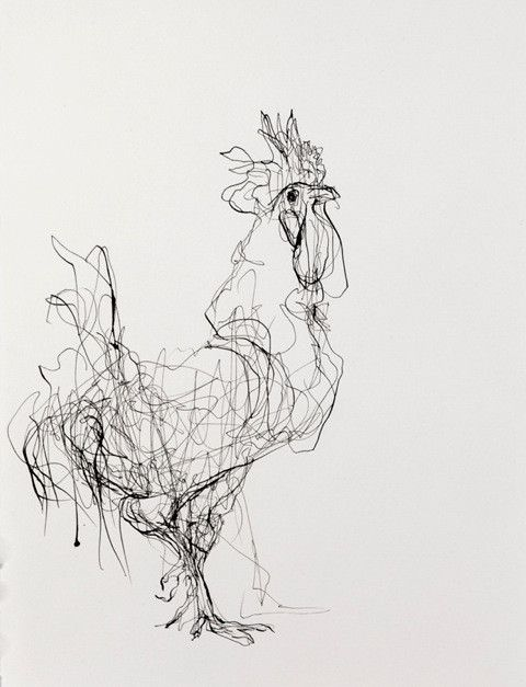 Ink on Paper | Rooster (Facing Right)