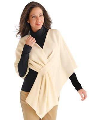 Fleece Shawl Wrap from Collections Etc. I like the notch for passing through the fabric end.