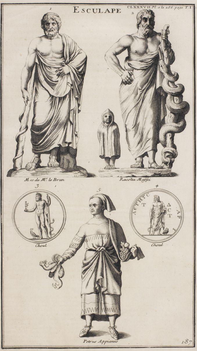 """""""Dioses romanos de la medicina y la salud"""", Grabado S.XVIII"""