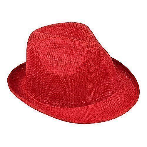 Damen & Herren Sommer SONNEN HUT - Fedora Panama Trilby Strohhut Stil Strand Hut Unisex - nicht angegeben, Rot