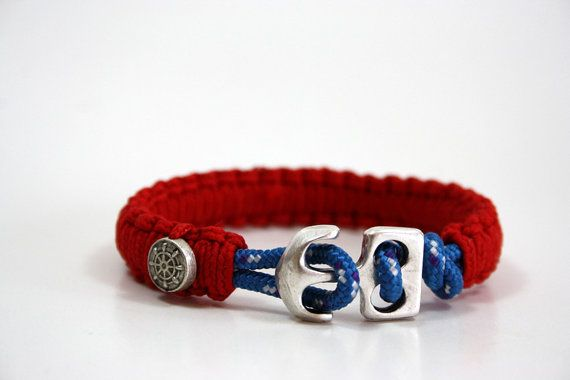 bracelet nautique, maritime cordon, bracelet de parachute, voile bracelet corde, voile bijoux, bracelet ancre, bijoux maritime