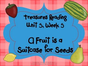 This is a unit to go along with the 1st grade Treasures Reading Unit 5, Week 5 - A Fruit is a Suitcase for Seeds. This unit includes word cards for...