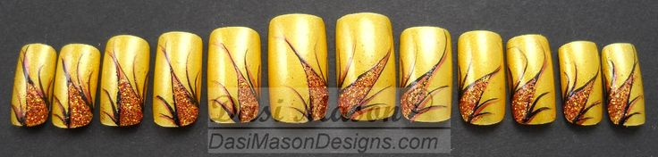 Yellow with Copper Floral Fantasy Instant Acrylic Nail Set