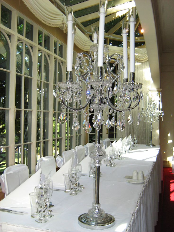 Bridal table reception setup on the stage in the dining room