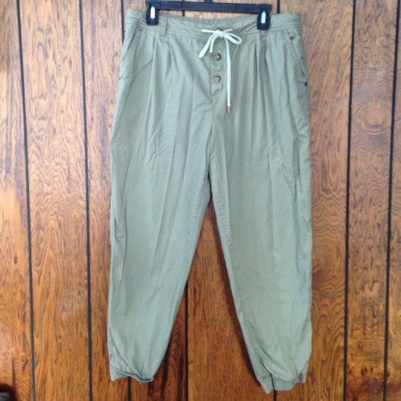 Khaki joggers Cute khaki joggers pants with elastic bands on the waist and the cuffs. Brand new condition. Worn once. Forever 21 Pants Track Pants & Joggers