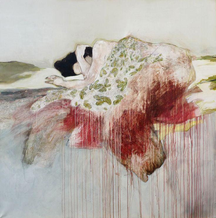 Florence Dussuyer, Philomène, crayon, acrylique, brou de noix sur toile 200 x 200 cm, 2014,collection particulière